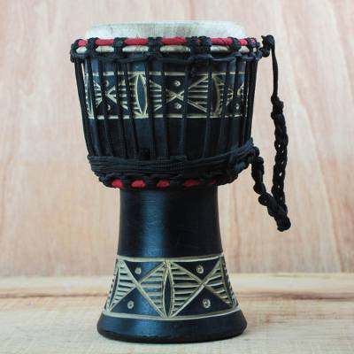 Wood djembe drum, 'Musical Dondo' - Wood Djembe Drum with Dondo Motifs from Ghana