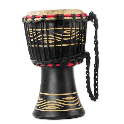 Wood Djembe Drum with Eye Motifs from Ghana