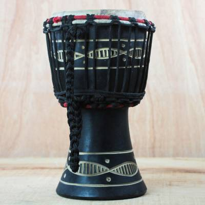 Wood mini djembe drum, 'Musical Eights' - Wood Mini Djembe Drum with Wave Motifs from Ghana