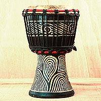 Wood mini djembe drum, 'Contours of Music' - Wood Mini Djembe Drum with Line Motifs from Ghana