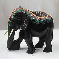 Wood and aluminum sculpture, 'Elephant Color' - Sese Wood and Aluminum Elephant Sculpture from Ghana
