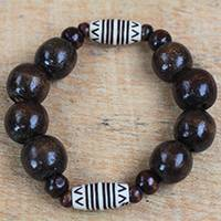 Wood and recycled plastic beaded stretch bracelet, 'Exornam' - Sese Wood and Plastic Beaded Stretch Bracelet from Ghana