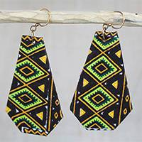 Cotton dangle earrings, 'Kekeli Diamonds' - Geometric Cotton Dangle Earrings from Ghana