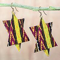 Cotton dangle earrings, 'African Stars' - Star-Shaped Cotton Dangle Earrings from Ghana