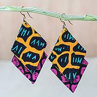 Cotton dangle earrings, 'Colorful Nkabom' - Diamond-Shaped Cotton Dangle Earrings from Ghana