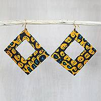 Cotton dangle earrings, 'Orange Aseda' - Square Cotton Dangle Earrings in Orange from Ghana