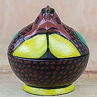 Wood decorative jar, 'Spotted Chicken' - Spotted Chicken Wood Decorative Jar from Ghana