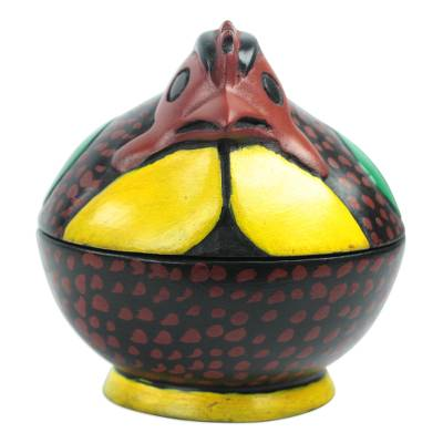 Spotted Chicken Wood Decorative Jar from Ghana