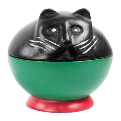 Black and Green Cat Wood Decorative Jar from Ghana