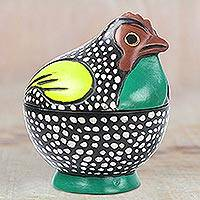 Wood decorative jar, 'Colorful Rooster' - Multicolored Rooster Decorative Jar from Ghana