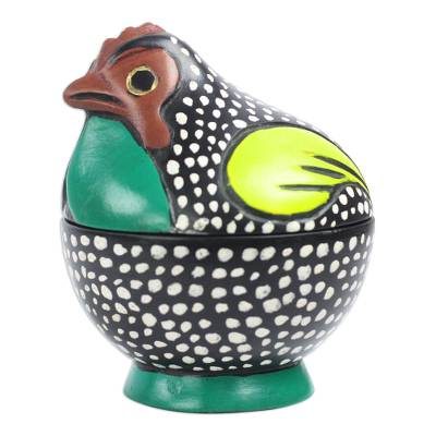 Multicolored Rooster Decorative Jar from Ghana