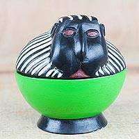 Wood decorative jar, 'Monkey Keeper' - Handcrafted Sese Wood Monkey Decorative Jar from Ghana