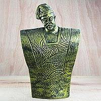 Ceramic sculpture, 'Funny Man' - Ceramic Sculpture of an Armless Man from Ghana