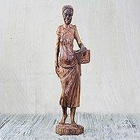 Teakwood statuette, 'Hocker' - Hand-Carved Teakwood Statuette of a Woman from Ghana