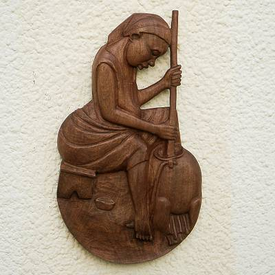 Wood relief panel, 'Evening Meal' - Baku Wood Relief Panel of a Woman Cooking from Ghana