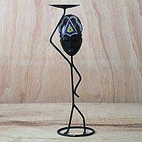 Wood and iron candle holder, 'Helpful Araba' - Beaded Sese Wood and Iron Candle Holder from Ghana