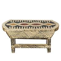 Wood decorative stool, 'African Kitchen' - Sese Wood and Aluminum Decorative Stool from Ghana