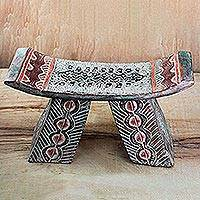 Wood decorative stool, 'Lovely Araba' - Sese Wood and Aluminum Decorative Stool Made in Ghana