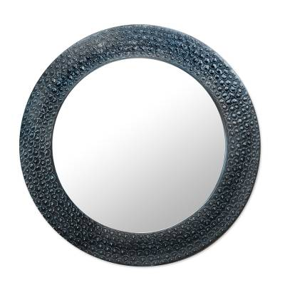 Black Aluminum and Sese Wood Mirror from Ghana