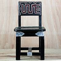 Wood decorative chair, 'Yoofi Delight' - Wood Aluminum and Recycled Plastic Decorative Chair