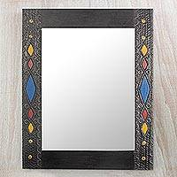 Wood mirror, 'Colorful Diamonds' - Sese Wood Aluminum and Brass Wall Mirror from Ghana