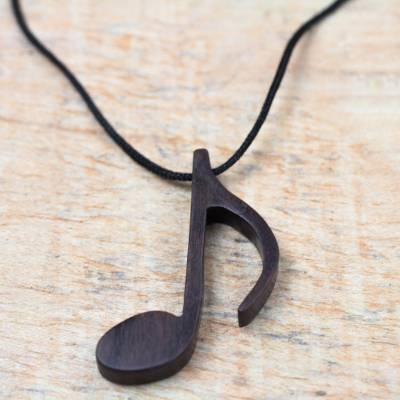 Ebony wood pendant necklace, 'Dark Note' - Ebony Wood Musical Note Pendant Necklace from Ghana