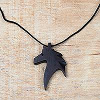 Ebony wood pendant necklace, 'Horse Profile' - Ebony Wood Horse Pendant Necklace from Ghana