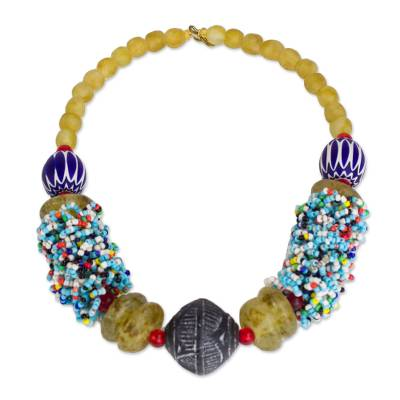 Handcrafted Recycled Glass Beaded Statement Necklace