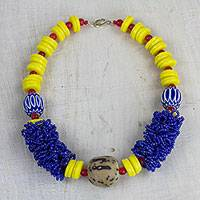Recycled glass beaded statement necklace, 'Ghanaian Pride' - Handcrafted Recycled Glass Beaded Statement Necklace