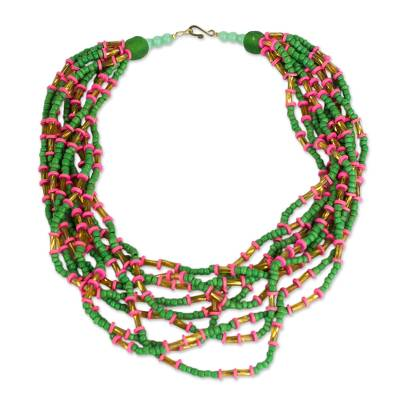 Pink and Green Recycled Glass Beaded Statement Necklace