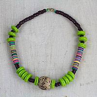 Recycled glass and plastic beaded necklace, 'Anyimunyam in Green' (Ghana)
