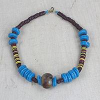 Recycled glass and plastic beaded necklace, 'Anyimunyam in Blue' (Ghana)