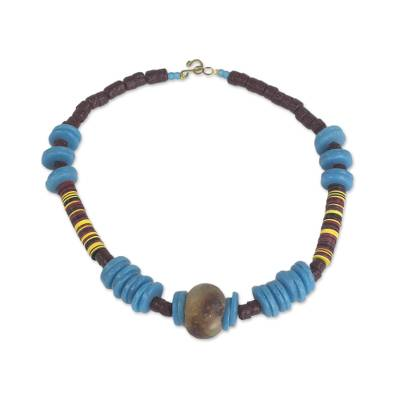 Handcrafted Recycled Glass and Plastic Statement Necklace