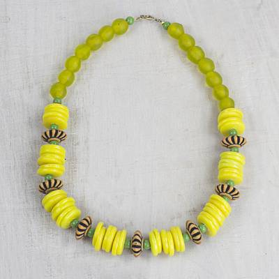 Recycled glass and plastic beaded necklace, 'Hello Yellow' - Yellow Recycled Glass and Sese Wood Beaded Necklace