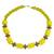 Recycled glass and plastic beaded necklace, 'Hello Yellow' - Yellow Recycled Glass and Sese Wood Beaded Necklace (image 2a) thumbail