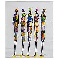 'Value Unity' (2017) - Signed Expressionist Painting of Women from Ghana (2017)
