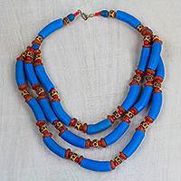 Recycled glass and plastic statement necklace, 'Azure Empress' - Blue and Orange Recycled Plastic Beaded Statement Necklace
