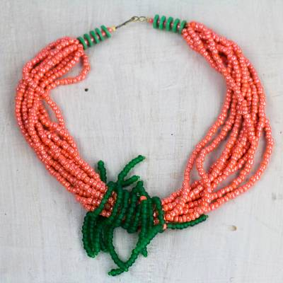 Recycled glass and plastic torsade necklace, 'Peaches and Limes' - Peachy Orange and Green Recycled Glass Torsade Necklace
