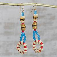 Recycled glass and wood beaded dangle earrings, 'Eclectic Assemblage' - Handcrafted Eclectic Beaded Dangle Earrings