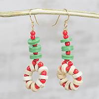 Recycled glass and plastic beaded earrings, 'Berry Symphony' - Red and Green Recycled Glass and Sese Wood Beaded Earrings