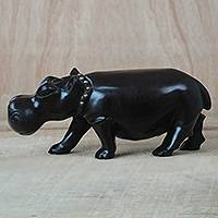 Ebony wood sculpture, 'Fine Hippo' - Ebony Wood and Brass Sculpture of a Hippo from Ghana