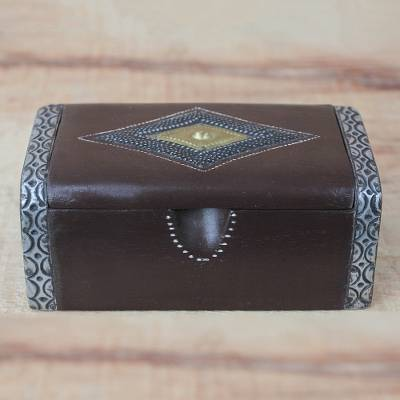 Wood decorative box, African Rhombus