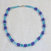 Recycled glass beaded necklace, 'Joyful Blue' (Ghana)