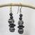 Ceramic and wood dangle earrings, 'Pottery Stacks' - Black and White Ceramic and Sese Wood Dangle Earrings thumbail
