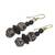 Ceramic and wood dangle earrings, 'Pottery Stacks' - Black and White Ceramic and Sese Wood Dangle Earrings (image 2b) thumbail