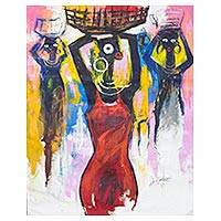 'Virtuous Woman' (2016) - Signed Expressionist Painting of Women from Ghana (2016)