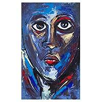 'Face of a Woman' (2016) - Signed Expressionist Portrait Painting in Blue from Ghaha