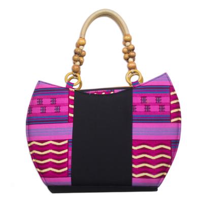 Pink and Red Kente Print Cotton Handle Handbag