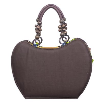 Chocolate Brown and African Print Cotton Handle Handbag