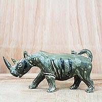 Wood sculpture, 'Green Rhino' - Sese Wood Sculpture of a Green Rhino from Ghana
